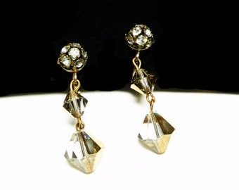 Dangling Bead Earrings - Vintage Signed Dalsheim clip on Style with Bronze Tone Iridescent Beads