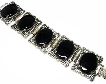 Vintage Victorian Wide Bracelet - Gothic Black Link Bracelet Designer Signed Judy Lee