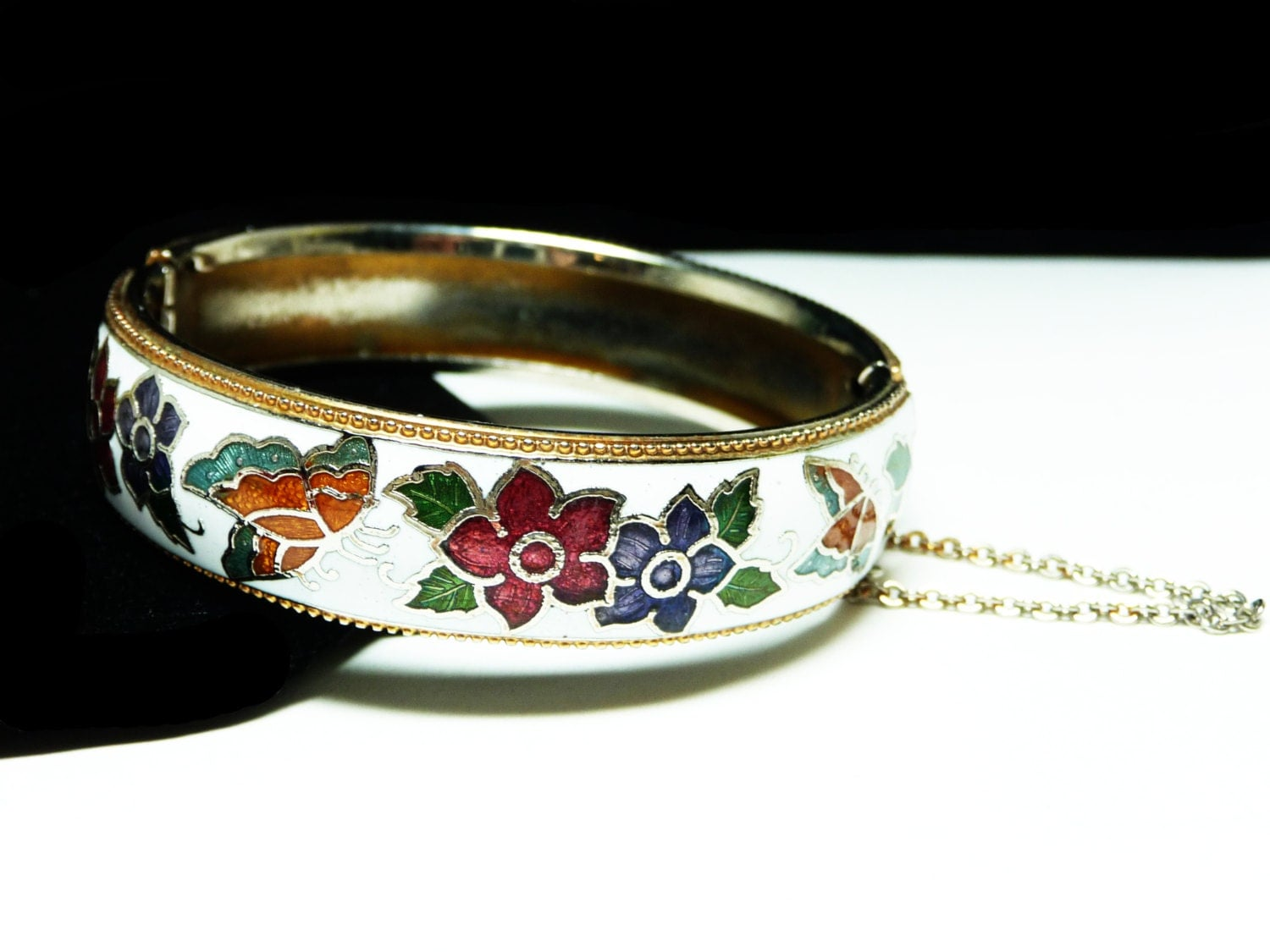 White Cloisonne Hinged Bangle Bracelet With Butterflies And