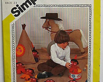 RARE Vintage 80's Felt Teaching Toys Counting Indian Dolls and Teepee Simplicity 239 Sewing Pattern UNCUT