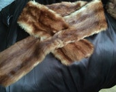 RESERVED For WCD vintage Fur Collar and Muff Luxurious Uniquely Styled Fur Collar Hollywood Glam Reddish Brown Striped Fur  Collar and Muff