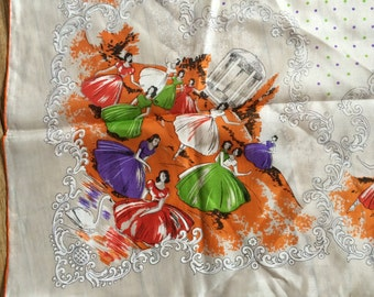50's 60's Silk Scarf Debutantes in the Garden Vintage Scarf with Frolicing Debutants Silk Blend Hand Rolled Made In Japan Polka Dot Center