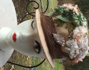 Floral Bucket Hat Vintage Hat Orange and Cream Flowers Big Brown Ribbon  60s Vintage Hat En Vogue Tea Party Hat