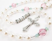 Swarovski Rosary in Pink and Green- Personalized Rosary for a Girl - Catholic Baptism, First Communion, or First Communion Gift
