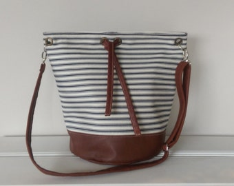 Handbags: Leather and Striped Canvas