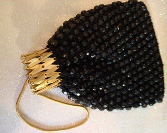 Dramatic black and gold vintage bag wristlet clutch coin bag / expanding brass gate genie bag