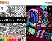 50% Off- cat fish bowl coloring, cats coloring book, adult coloring book, coloring pages, adult coloring pages, coloring book for adults