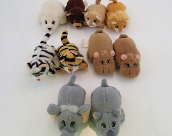 Galoob Pound Jungle Forest Animals Puppies Lot of 13 Mini Plush Elephant Hippo Rhino Bear Polar Tiger Zebra lion otter monkey Mini Tiny 90s
