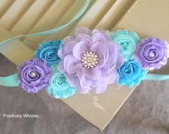 Maternity Sash, Baby Girl Maternity Sash, Gender Reveal Maternity Sash, Flower Maternity Sash, Lavender Purple, Turquoise, Aqua, RTS