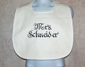 White Bib, Protect Wedding Dress, Bride Groom Cake Crumb Catcher, Custom Personalize With Name,  No Shipping Fee,  Ships TODAY, AGFT 557