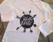 Infant Sleeper Bodysuit Hello World Im Here Hospital Outfit Newborn Take Home Outfit New baby Gift Infant Sleeper Baby Outfit Baby Take Home