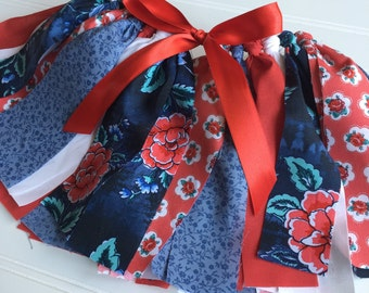 Baby Girl Floral Tutu - Floral Fabric Tutu - Tutu Skirt - Red Tutu Skirt - Smash Cake Outfit -