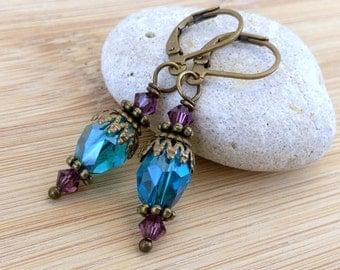 Turquoise Glass Dangle Earrings. Purple Blue Earrings. Antique Brass. Bohemian Drop. Moroccan Mediterranean Earrings.
