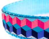 Waves Dog Collar, Geometric Pet Collar, Pink