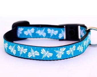 DragonflyDog Cat Collar, Blue Collar, Teacup, Kitty Cat, 1/2 inch width, Small Puppy