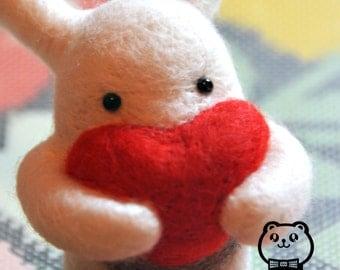Make to Order - Handmade needle felting rabbit bunny with big red heart