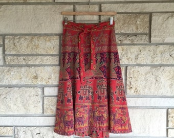 Vintage FA CHATTA Batik Wrap Skirt • Cotton Hand-Printed Indian Skirt