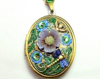 Lovely Flower Cameo Necklace, Peridot Green Swarovski Crystals, Neo Victorian, Edwardian Fantasy, OOAK