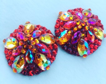 Fire Red Aurora Rhinestone BURLESQUE couture pasties
