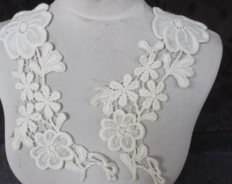 Cute venice  applique   ivory  color 2  pieces listing
