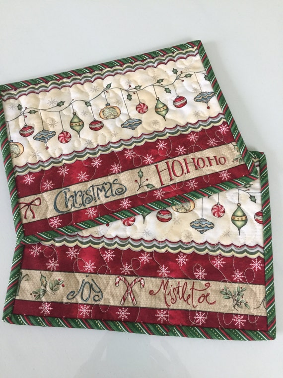 Quilted christmas ornament mug rug candle mat set of