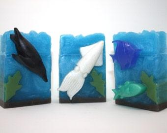 LIMITED EDITION - Ocean Scene Soap - penguin soap, squid soap, fish soap, angelfish soap, art soap, gift soap, seaside, marine, party favor