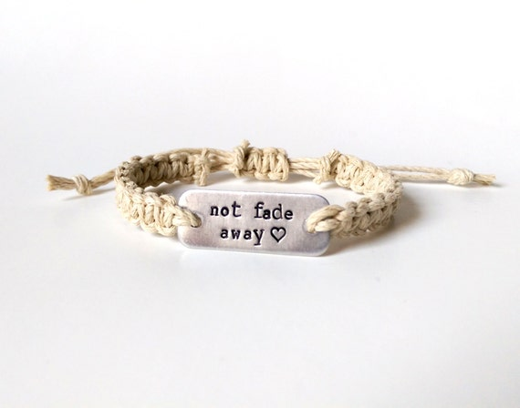 not fade away stamped bracelet with heart // adjustable natural hemp bracelet