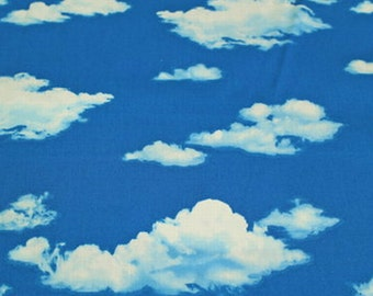 """Sky and Cloud Japanese Fabric  50cm or 19"""" by 110cm or 42"""" wideth in Light blue"""