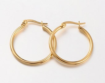 12pcs Gold Hoop Earring Findings - 1inch 1 inch Hoop Findings - Leverback Hoops - Gold Plated Round Hoop Ear Wires -Wholesale Gold Hoops B21