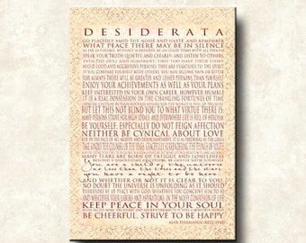 DESIDERATA - Word Art Prints - 24x36 Gallery Mount Canvas Vertical - You are a child of the universe - Max Ehrmann Motivational