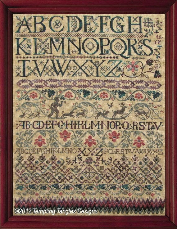 Giovanni s alphabet antique style sampler by temptingtangles