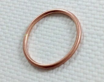 Brushed Finish Solid 14K Pink Gold Ring, 1mm, Stacking Ring, Midi Ring, 1mm wedding band