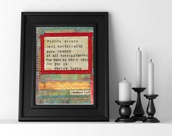 gift for him art print rejoice always boy bedroom art christian art thessalonians