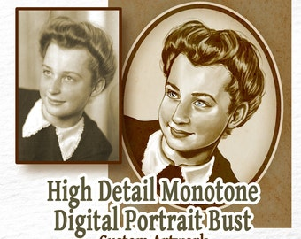 CUSTOM High Detail Digital Portrait Monotone