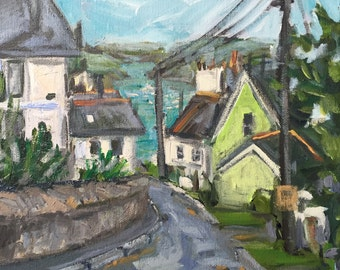 "Fowey Cornwall  View 10""x10"" original acrylic on canvas painting"