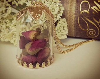 Real dried rose flower in the Terrarium garden glass capsule necklace