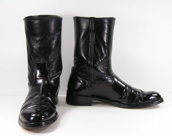 vintage cowboy boots ropers womens 8.5 b m black justin cloth pull strap western leather