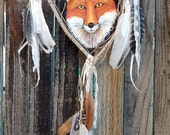 Red Fox Dream Catcher Wall Hangings Totem Animal Medicine Spirit Guide Handmade Dreamcatchers Woodland Creature Painted Leather Original Art