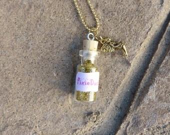 Pixie Dust Necklace Fairy Charm Mini Bottle Party Favor, Gold