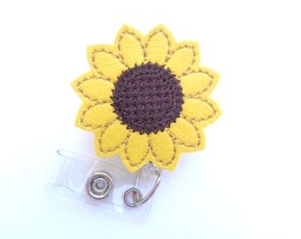 Marine vinyl Badge Reel ID Holder Retractable - Sunny Sunflower - yellow and brown flower - nurse office staff teacher professionals