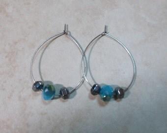 Blue Czech Glass And Hematite Beaded Hoops Blue Grey Earrings Metallic Sparkle Earrings Beaded Hoop Earrings Aqua Hoop Earrings - Monsoon