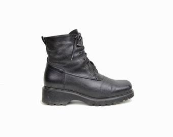 Vintage 90s Black Leather Combat Boots / Women's Lace Up Boots - women's 8