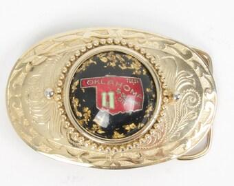 Big Oklahoma State Lucite Medallion Engraved Belt Buckle Vintage Western Southwestern Cowboy Okie Gold Tone Buckle