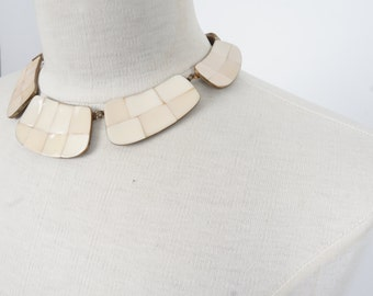 brass and shell inlay collar necklace 80s 90s vintage link bib choker