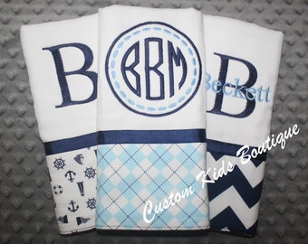 Navy and Blue Argyle Baby Boy  Burp Cloth Gift Set- Set of 3 Custom Monogrammed Burp Cloths