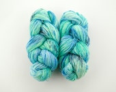 Mermaid in the Waves - 4 Ply Sock Yarn - green and blue speckled yarn - fingering weight superwash wool