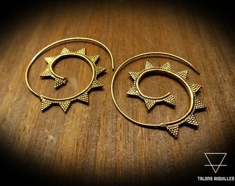 Boucles d'oreille laiton # ethnic brass earing # spiral earrings