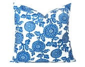 "Euro Sham Royal Blue Pillow Cover, Cobalt Mums Throw Pillows ONE pillow cover Slipcover Cushion Cover Floral 18x18 inch ALL SIZES 20"" 16"""