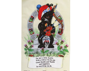 Vintage Lamont Scottie Dog Playing Bagpipes Tea Towel - Wall Hanging