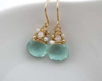 Aquamarine Quartz, Moonstone and Pearl Earrings